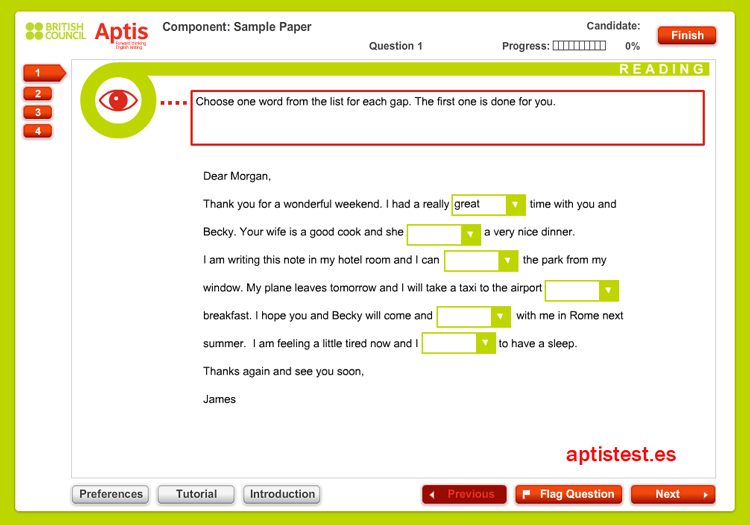 Test ejercicio práctico de comprensión lectora para APTIS: Test 1