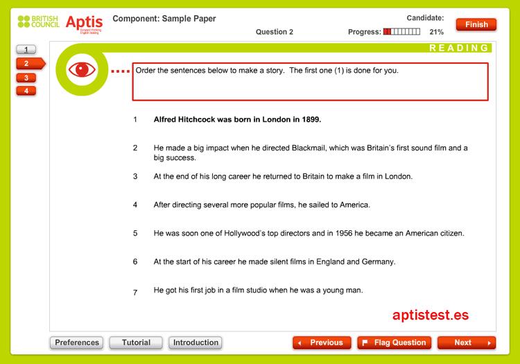 Test ejercicio práctico de comprensión lectora para APTIS: Test 2