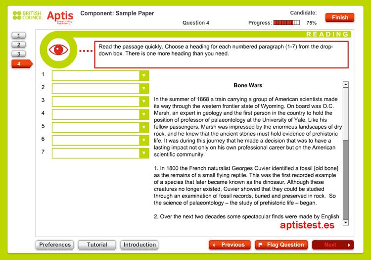 Test ejercicio práctico de comprensión lectora para APTIS: Test 4